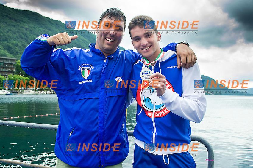 Simone Menoni e Andrea Bianchi Rari Nantes Spezia<br /> 25 km uomini<br /> Omegna, Lago D'Orta<br /> FIN 2016 Campionato Italiano Assoluto Nuoto di Fondo <br /> <br /> Day 05 14-06-2016<br /> Photo Laura Binda/Deepbluemedia/Insidefoto