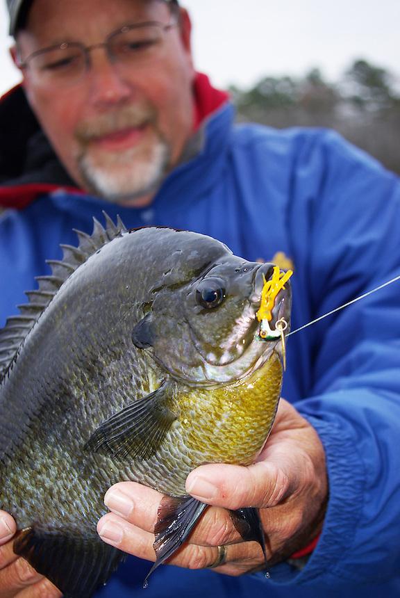 Angler with trophy bluegill caught in Richmond Mill Lake near Laurel Hill, North Carolina