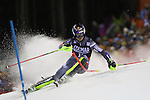 in action at the FIS Alpine Ski World Cup Men's Night Slalom in Madonna di Campiglio, on December 22, 2016.