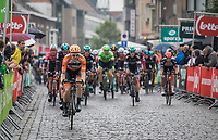 Peloton in the last of 3 local laps with Pim Ligthart (NED/Roompot-Nederlandse Loterij) in front<br /> <br /> Binckbank Tour 2017 (UCI World Tour)<br /> Stage 4: Lanaken &gt; Lanaken (BEL) 155km