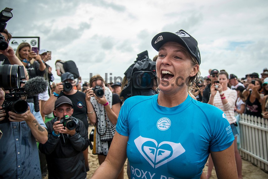 COOLANGATTA, Queensland/AUS (Sunday, March 19, 2017) - The Quiksilver and Roxy Pro Gold Coast was called ON today in three - to - four foot (1 m) surf at Snapper Rocks. The event got underway at 7:05 a.m. with the Men's Quarterfinals followed by the Women's Quarterfinals and ran through to the finals with Owen Wright (AUS) posting a victory with his first event back from injury and Stephanie Gilmore (AUS) adding another Roxy Pro title to her name. Wright defeated defending event champion Matt Wilkinson(AUS) in an all goofy-foot final while Lakey Peterson (USA) was runner up to Gilmore.   Photo: joliphotos.com
