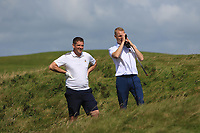 Eoghan O'Donnell (Tralee) and Darren O'Sullivan (Tralee) on the 6th during the Munster Final of the AIG Barton Shield at Tralee Golf Club, Tralee, Co Kerry. 12/08/2017<br /> Picture: Golffile | Thos Caffrey<br /> <br /> <br /> All photo usage must carry mandatory copyright credit     (&copy; Golffile | Thos Caffrey)
