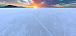 Sunrise on the Bonneville Salt Flats.