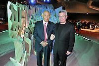 - Milan, the house-builder Salvatore Ligresti with architect Daniel Libeskind visiting the art installation Futuropolis at the site of the new building compound CityLife<br /> <br /> - Milano, il costruttore Salvatore Ligresti con l'architetto Daniel Libeskind in visita alla installazione artistica Futuropolis presso il cantiere del nuovo complesso edilizio CityLife
