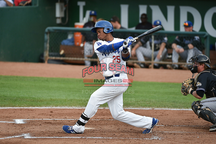 Michael Medina (25) of the Ogden Raptors at bat against the Missoula Osprey in Pioneer League action at Lindquist Field on July 20, 2015 in Ogden, Utah. Missoula defeated Ogden 10-6. (Stephen Smith/Four Seam Images)