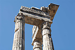 Three columns from the temple of Apollo Sosianus dating back to c.430 BC in the Sant Angelo district of Rome.