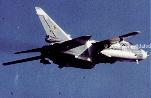 United States Department of Defense released its 1985 assessment of Soviet Military Power at the Pentagon in Washington, DC on April 2, 1985.  The release stated &quot;the Su-24 / FENCER is a nuclear-capable, all-weather fighter / bomber.&quot;<br /> Credit: Department of Defense via CNP