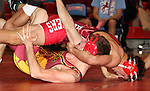 SIOUX FALLS, SD - DECEMBER 28:  David Kocer from Wagner gets a near fall on Francis Boehmer from Roosevelt in their 170 pound championship match Saturday afternoon December 28, 2013 at Lincoln High School in Sioux Falls, South Dakota. (Photo by  Dave Eggen/Inertia)