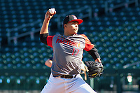Fabian Sanchez Borges (17) of Puerto Rico Baseball Academy in Coamo, Puerto Rico during the Baseball Factory All-America Pre-Season Tournament, powered by Under Armour, on January 13, 2018 at Sloan Park Complex in Mesa, Arizona.  (Freek Bouw/Four Seam Images)