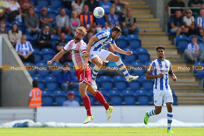 Fraser Franks of Stevenage rises with Drey Wright of Colchester United during Colchester United vs Stevenage, Sky Bet EFL League 2 Football at the Weston Homes Community Stadium on 12th August 2017