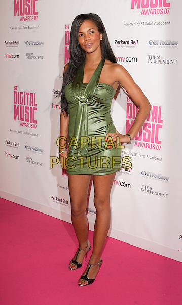CHARLEY UCHEA.BT Digital Music Awards 2007 held at the Roundhouse, Chalk Farm, London, England, October 2nd 2007..full length green dress Charlie Big Brother hand on hip.CAP/ROS.©Steve Ross/Capital Pictures