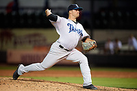Tampa Tarpons relief pitcher David Sosebee (44) delivers a pitch during a game against the Lakeland Flying Tigers on April 5, 2018 at Publix Field at Joker Marchant Stadium in Lakeland, Florida.  Tampa defeated Lakeland 4-2.  (Mike Janes/Four Seam Images)