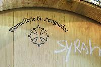 Syrah, Tonnellerie du Languedoc cooperage. Domaine d'Aupilhac. Montpeyroux. Languedoc. Barrel cellar. France. Europe.