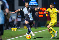 Paul Hayes of Wycombe Wanderers takes on Liam Sercombe of Oxford United during the Sky Bet League 2 match between Wycombe Wanderers and Oxford United at Adams Park, High Wycombe, England on 19 December 2015. Photo by Andy Rowland.