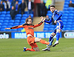 Cardiff's Scott Malone tussles with Ipswich's Brett Pitman during the Sky Bet Championship League match at The Cardiff City Stadium.  Photo credit should read: David Klein/Sportimage