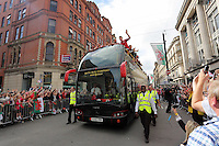 "Pictured: Friday 08 July 2016<br /> Re: Thousands of fans are expected to line the streets to welcome back the Wales national team. An open top bus will parade through Cardiff, from Cardiff Castle to Cardiff City Stadium where the Manic Street Preachers will play to 33,000 people.<br /> The parade comes after Wales lost 2-0 to Portugal in the semi-final on Wednesday, with their historic run hailed as a performance which has ""changed Welsh football forever""."