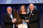 Helen McKew, St. Mary's Musical Society, Navan, County Meath  winner of the Best Chorus' / Sullivan Section for the production of 'All Shook Up'' receiving the trophy from on  left, Colm Moules, President, AIMS and Seamus Power, Vice-President at the Association of Irish Musical Societies annual awards in the INEC, KIllarney at the weekend.<br /> Photo: Don MacMonagle -macmonagle.com<br /> <br /> <br /> <br /> repro free photo from AIMS<br /> Further Information:<br /> Kate Furlong AIMS PRO kate.furlong84@gmail.com