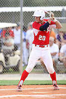 Brett Langhorne, #20 of Trinity Episcopal High School, VA for the Richmond Braves Team during the WWBA World Championship 2013 at the Roger Dean Complex on October 25, 2013 in Jupiter, Florida. (Stacy Jo Grant/Four Seam Images)
