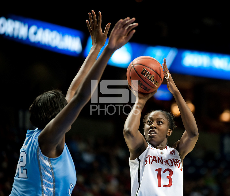SPOKANE, WA - MARCH 26, 2011: Chiney Ogwumike of Stanford Women's Basketball vs University of North Carolina, NCAA West Regionals on March 26, 2011.