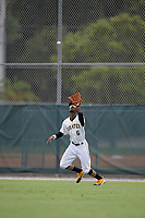 GCL Pirates outfielder Deion Walker (6) catches a fly ball during a Gulf Coast League game against the GCL Red Sox on August 1, 2019 at Pirate City in Bradenton, Florida.  GCL Red Sox defeated the GCL Pirates 11-3.  (Mike Janes/Four Seam Images)