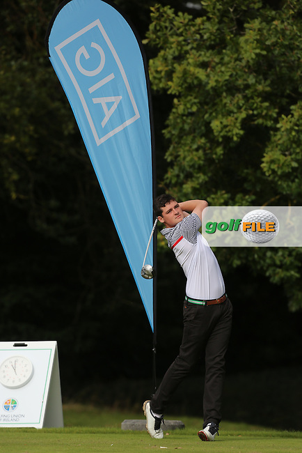 TJ Ford (Co.Sligo) on the 1st tee during the final of the AIG Senior Cup at Carton House.17/9/16<br /> Picture: Golffile   Jenny Matthews<br /> <br /> <br /> All photo usage must carry mandatory copyright credit (&copy; Golffile   Jenny Matthews)