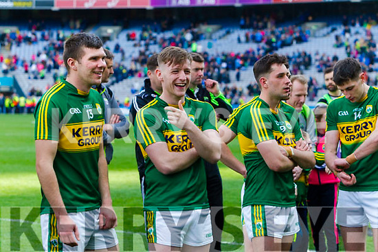 Kevin McCarthy, Conor Keane and Jack Savage Kerry players celebrate after defeating Dublin at the National League Final in Croke Park on Sunday.