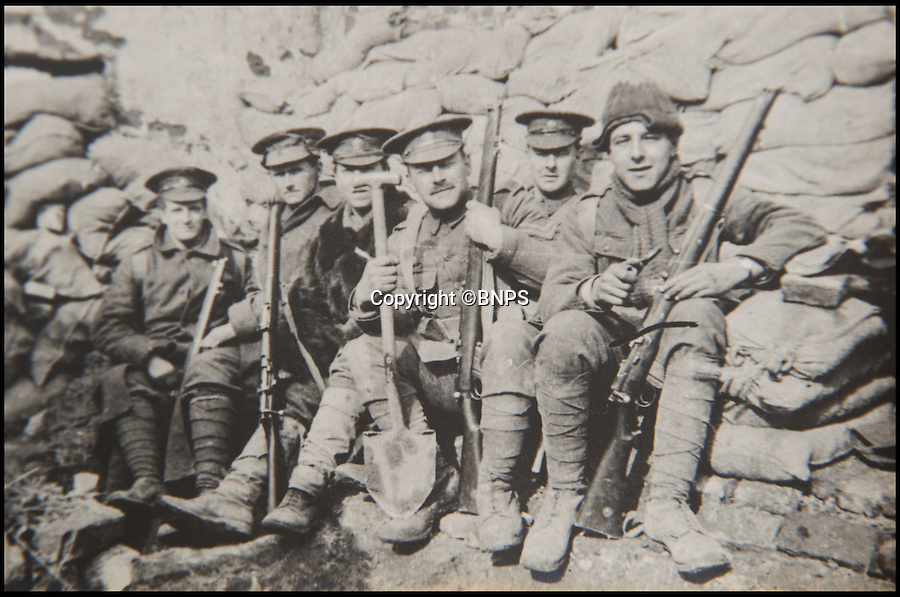 BNPS.co.uk (01202 558833)<br /> Pic: PhilYeomans/BNPS<br /> <br /> Lt Hugh Barker's comrades in their trench...<br /> <br /> In the trenchesFound in a old suitcase...poignant letters and photographs from the trenches of the Western Front.<br /> <br /> Germans who fought in the First World War never wanted to kill their English 'Saxon friends', according to a never-before-seen account of the famous Christmas truce of 1914.<br /> <br /> Lieutenant Hugh Barker included the previously-unknown description of the friendly meeting between the warring parties in a letter home to his mother.<br /> <br /> He described how the enemy soldiers he met were from the Saxony region of northern Germany and how they expressed their bemusement and displeasure at having to fight their Anglo-Saxon cousins.<br /> <br /> Lt Barker also documented the carols and banter the two sides exchanged across No Man's Land before both groups of men felt emboldened enough to emerge from their trenches.<br /> <br /> The archive is tipped to sell for £3,000 with C & T Auctions of Ashford, Kent on April 30.