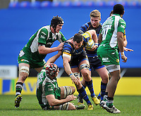Matt Cox of Worcester Warriors takes on the London Irish defence. Aviva Premiership match, between London Irish and Worcester Warriors on February 7, 2016 at the Madejski Stadium in Reading, England. Photo by: Patrick Khachfe / JMP