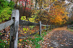 Colorful Trees Over A Walking Path And Fence During Autumn At Sharon Woods In Southwestern Ohio, USA