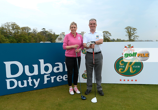 9 May 2016;  Alan Clelland and Laura Boyd, from Ballyclare Golf Club.  Dubai Duty Free Irish Open - All-Ireland Final for Pro-Am Qualifying Competition. The K Club Smurfit Course, Straffan, Co. Kildare, Ireland. <br /> Picture: Golffile | Caroline Quinn<br /> <br /> All photo usage must carry mandatory copyright credit (&copy; Golffile | Caroline Quinn)