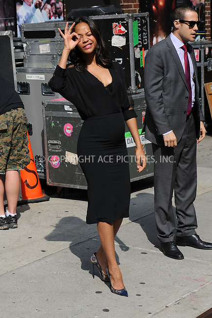 WWW.ACEPIXS.COM <br /> July 30, 2014 New York City<br /> <br /> Zoe Saldana after taping an appearance on the Late Show with David Letterman on July 30, 2014 in New York City.<br /> <br /> Please byline: Kristin Callahan/ACE Pictures  <br /> <br /> ACEPIXS.COM<br /> Ace Pictures, Inc<br /> tel: (212) 243 8787 or (646) 769 0430<br /> e-mail: info@acepixs.com<br /> web: http://www.acepixs.com