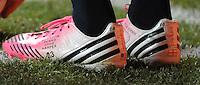 MLS All-Stars midfielder David Beckham shoes.  The MLS All Stars Team defeated Chelsea FC 3-2 at PPL Park Stadium, Wednesday 25, 2012.