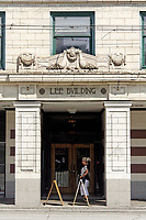 Entrance to the Lee Building constructed in 1912 in the Mount Pleasant district of Vancouver, BC, Canada