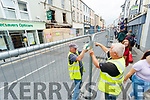 Council workers blocking off the area in front go European estate agents building on Monday.