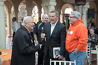 From left, Larry Layne '71, Chair of the Football Action Team Vance Mueller '86 P'16 and John Castner '81.<br /> Occidental College alumni, staff and other members of the Oxy community gather in support of the football program, March 10, 2018 on Branca Patio.<br /> In January 2018 a 16-member task force of trustees, faculty, students, staff and alumni met to determine the fate of the football program in the wake of the premature end of the 2017 season. The College is moving full speed ahead with preparations for the 2018 season, led by the Football Action Team.<br /> (Photo by Marc Campos, Occidental College Photographer)