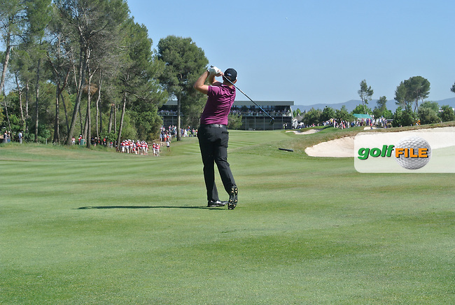 James Morrison (ENG) taking his second shot on the 18th enrolee to win the Open de Espana  in Club de Golf el Prat, Barcelona on Sunday 17th May 2015.<br /> Picture:  Thos Caffrey / www.golffile.ie