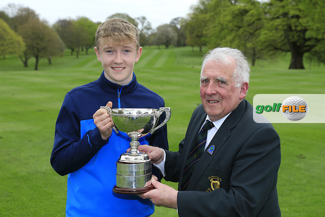 John Ferriter (Chairman Leinster Golf) presenting winner Aaron Marshall (Lisburn) with the 2017 Leinster Boys Amateur Open Championship trophy after his victory at Headfort Golf Club in th final round of the Leinster Boys, Headford Golf Club, Kells, Co. Meath. 21/04/2017.<br /> Picture: Golffile | Fran Caffrey<br /> <br /> <br /> All photo usage must carry mandatory copyright credit (&copy; Golffile | Fran Caffrey)