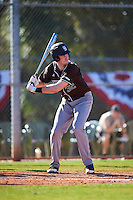 St. Bonaventure Bonnies first baseman T.J. Baker (32) at bat during a game against the Dartmouth Big Green on February 25, 2017 at North Charlotte Regional Park in Port Charlotte, Florida.  St. Bonaventure defeated Dartmouth 8-7.  (Mike Janes/Four Seam Images)