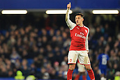 10th January 2018, Stamford Bridge, London, England; Carabao Cup football, semi final, 1st leg, Chelsea versus Arsenal; Alexis Sanchez of Arsenal gives a thumbs up to his team mates
