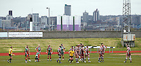 PICTURE VAUGHN RIDLEY/SWPIX.COM - Rugby League - Carnegie Challenge Cup, 4th Round - Hunslet Hawks v Batley Bulldogs - South Leeds Stadium, England - 15/04/12 - Batley celebrate a try. GV, General View.