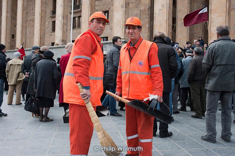 Municipal street cleaners,  Tbilisi, Georgia.