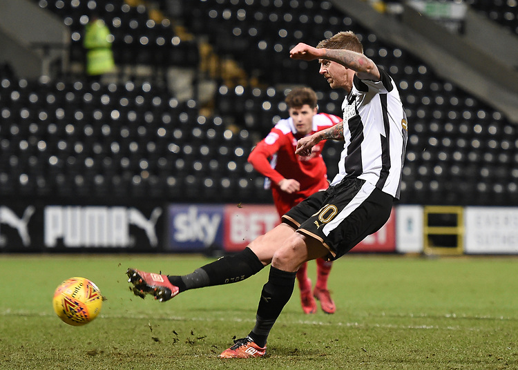 Notts County's Jonathan Stead scores his side's equalising goal to make the score 1-1<br /> <br /> Photographer Jon Hobley/CameraSport<br /> <br /> The EFL Sky Bet League Two - Notts County v Crawley Town - Tuesday 23rd January 2018 - Meadow Lane - Nottingham<br /> <br /> World Copyright &copy; 2018 CameraSport. All rights reserved. 43 Linden Ave. Countesthorpe. Leicester. England. LE8 5PG - Tel: +44 (0) 116 277 4147 - admin@camerasport.com - www.camerasport.com