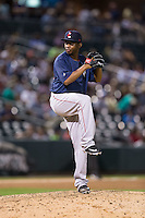 Pawtucket Red Sox relief pitcher Wesley Wright (20) in action against the Charlotte Knights at BB&T BallPark on July 6, 2016 in Charlotte, North Carolina.  The Knights defeated the Red Sox 8-6.  (Brian Westerholt/Four Seam Images)