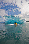 Alaska, Prince William Sound, Columbia Glacier icebergs, sea kayakers, Columbia Bay, USA,.