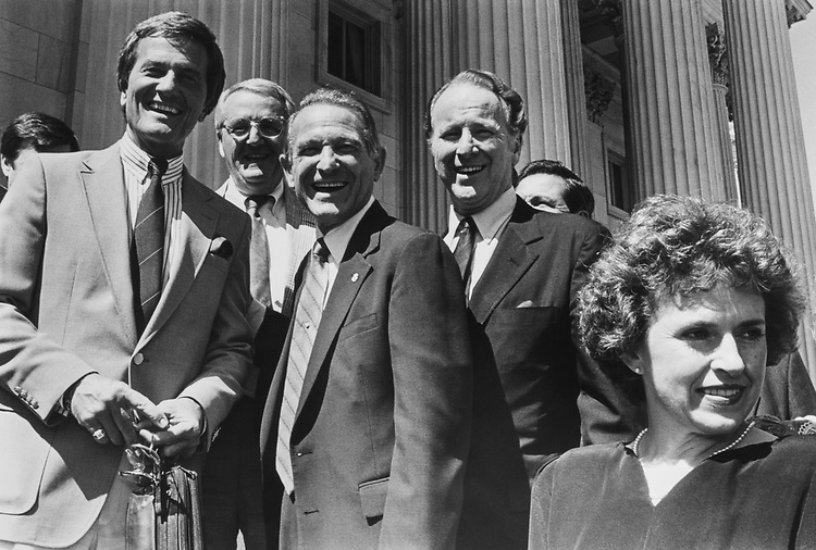 Pat Boone, Rep. Larry J. Hopkins, R-Ky., Rep. Floyd Spence, R-S.C., and Debbie Spence, on Sep. 25, 1988. (Photo by Andrea Mohin/CQ Roll Call via Getty Images)