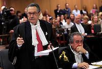L'avvocato Franco Coppi tiene la sua arringa accanto al suo collega Paolo Loria, a destra, durante l'udienza conclusiva del processo per il delitto di Via Poma, presso la Corte d'Appello di Roma, 27 aprile 2012..UPDATE IMAGES PRESS/Riccardo De Luca