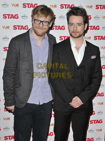 LONDON, ENGLAND - MARCH 13: Brian Gleeson &amp; Michael Legge attend the &quot;The Stag&quot; gala film screening, Vue West End cinema, Leicester Square, on Thursday March 13, 2014 in London, England, UK.<br /> CAP/CAN<br /> &copy;Can Nguyen/Capital Pictures