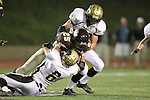 Torrance, CA 11/05/10 - Matt Hezlep (Peninsula #6), Ricky Sato (West # 25) and Ryan Sawelson (Peninsula #32) in action during the Peninsula vs West varsity football game played at West Torrance high school.