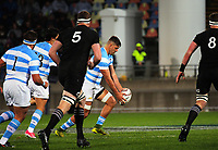 Pablo Matera attempts a drop goal during the Rugby Championship match between the NZ All Blacks and Argentina Pumas at Yarrow Stadium in New Plymouth, New Zealand on Saturday, 9 September 2017. Photo: Dave Lintott / lintottphoto.co.nz