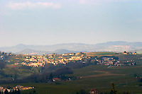 A view over the Crozes Hermitage village from the Hermitage hill. Tain l'Hermitage, Drome, Drôme, France, Europe